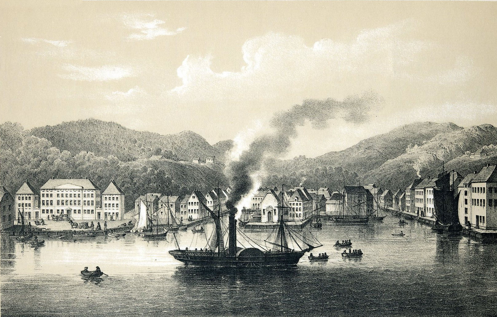 "Steamer ""Constitutionen"" at the port of Arendal, 1848."