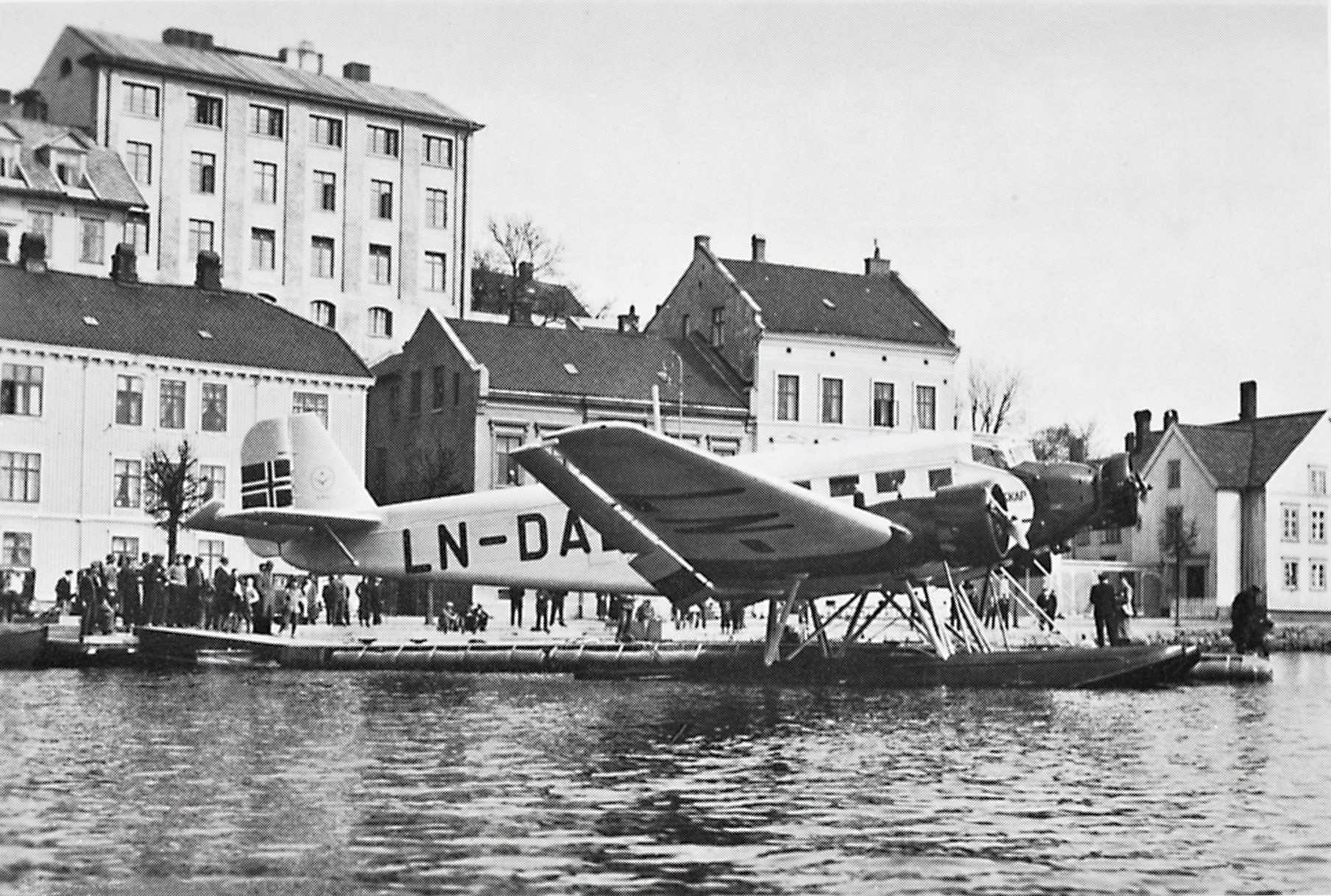 ADS's seaplane at the port of Arendal, ca 1935